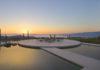 Lounge in Amanzoe Hotel. Poros Island, Greece. Aegean Sea view.