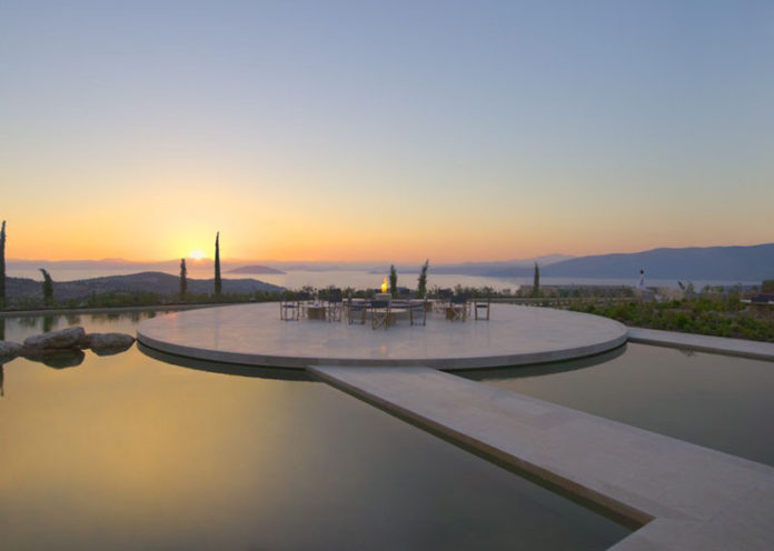 Lounge in Amanzoe Hotel. Poros Island, Greece. Aegean Sea view.