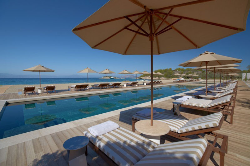 Swimmingpool in Amanzoe Hotel. Poros Island, Greece. Aegean Sea view