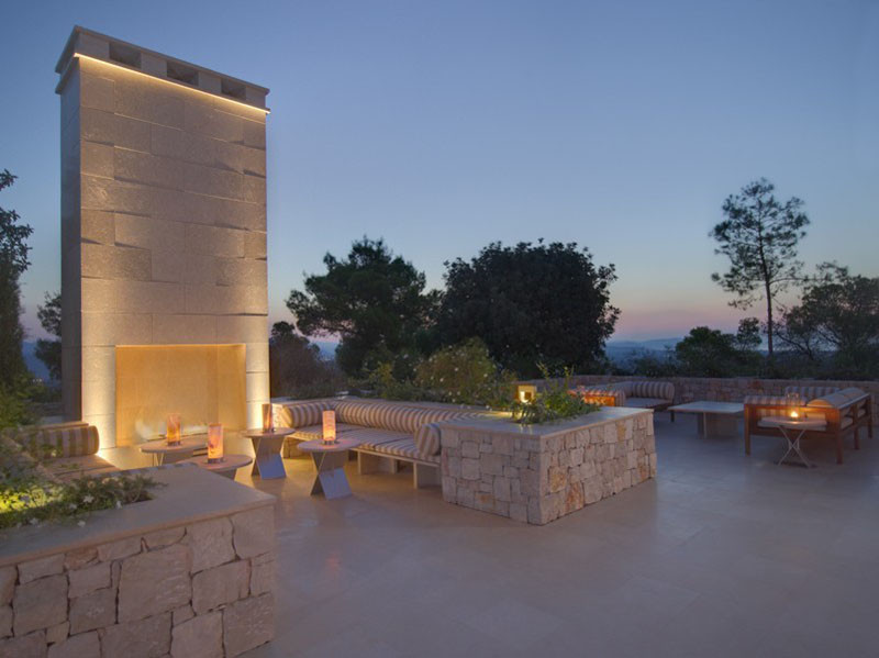 Lounge in Amanzoe Hotel. Poros Island, Greece