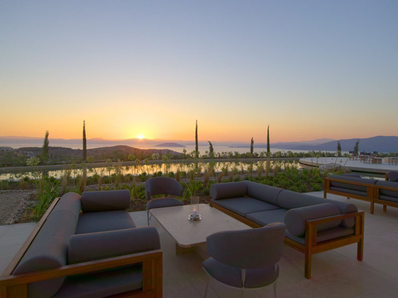 Lounge in Amanzoe Hotel. Poros Island, Greece. Aegean Sea view