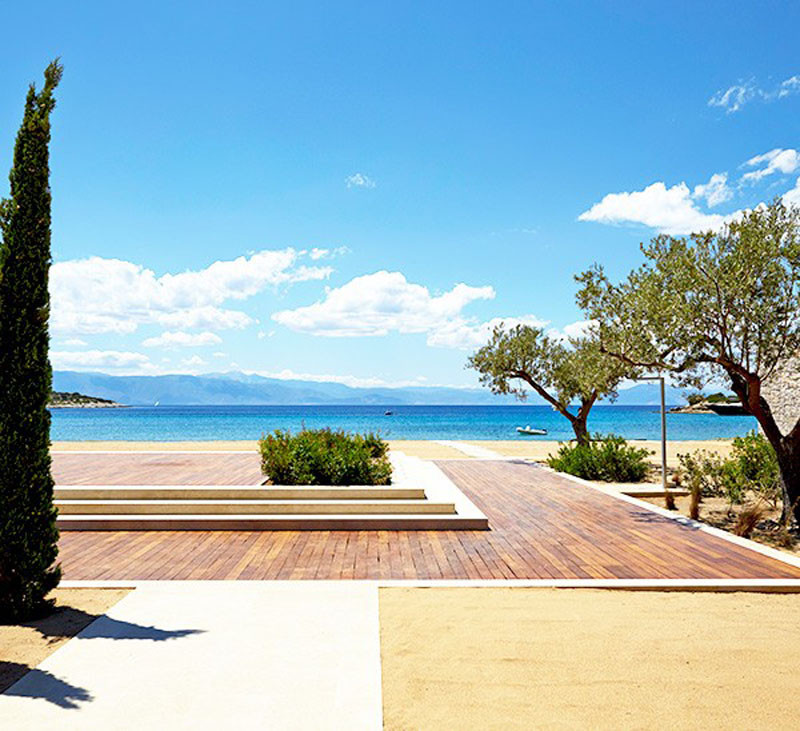Aegean Sea view from Amanzoe Hotel. Poros Island, Greece