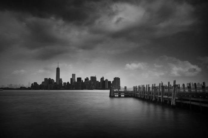 New-York Liberty State Park. Black & white photo.