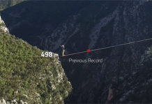 Slackline Walker has set a new record of 1,020 meters in the mountains